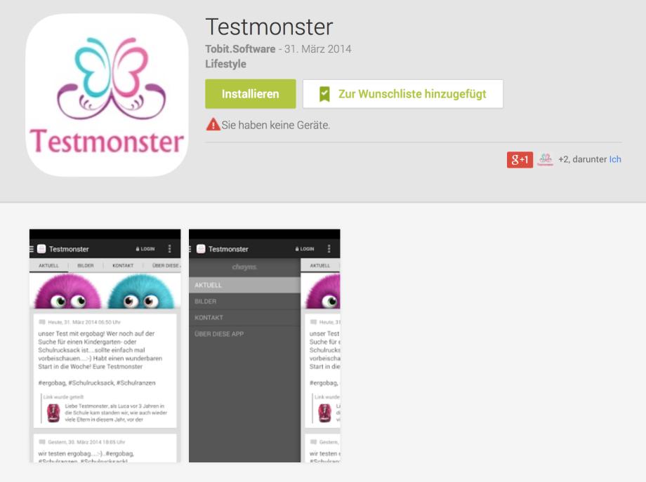 Testmonster – yeaaahhh wir haben ein App für Eure Smartphones…..das könnt Ihr auch!