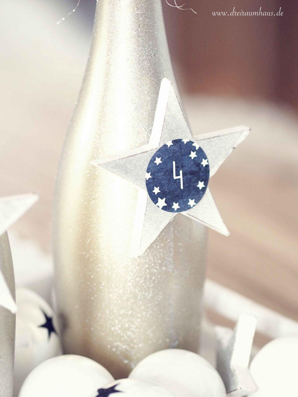 Adventskranz Ideen mit Rotkäppchen Flaschen - dreiraumhaus rotkaeppchen fruchtsecco diy adventskranz glasflaschen11