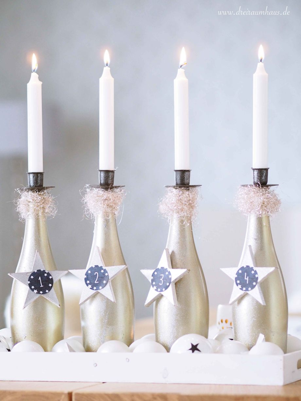 Adventskranz Ideen mit Rotkäppchen Flaschen - dreiraumhaus rotkäppchen fruchtsecco rotkaeppchen fruchtsecco diy adventskranz glasflaschen11