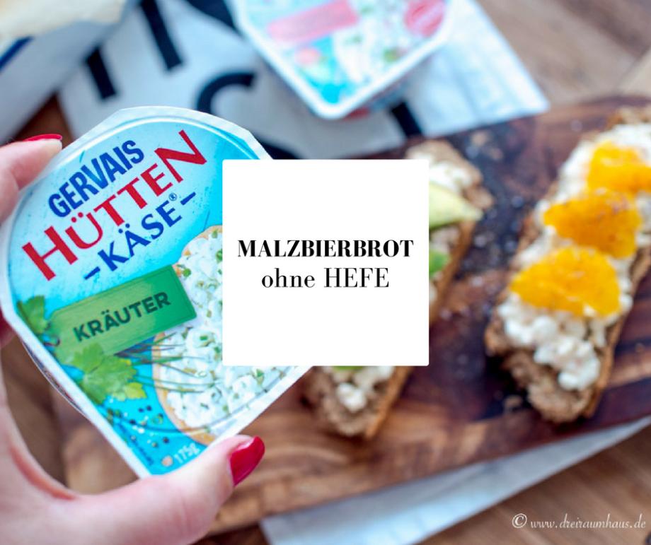 MALZBIERBROT ohne HEFE mit BUCHWEIZENMEHL und GERVAIS HÜTTENKÄSE!