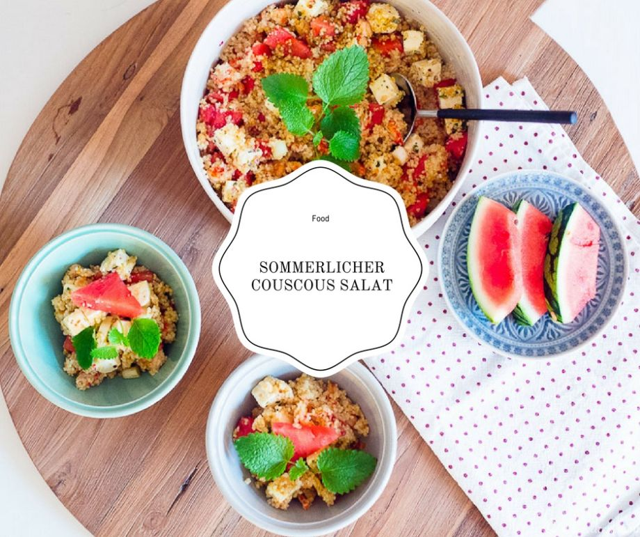 sommerlicher couscous salat mit wassermelone und feta. Black Bedroom Furniture Sets. Home Design Ideas