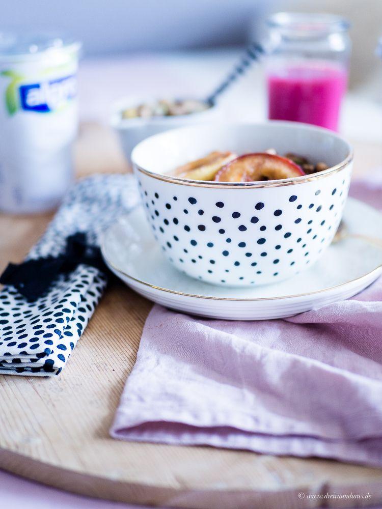 Der Alpro Breakfast Club und ein Winterfrühstück mit karamellisierten Apfelscheiben, Nüssen & Zimt...#alprobreakfastclub