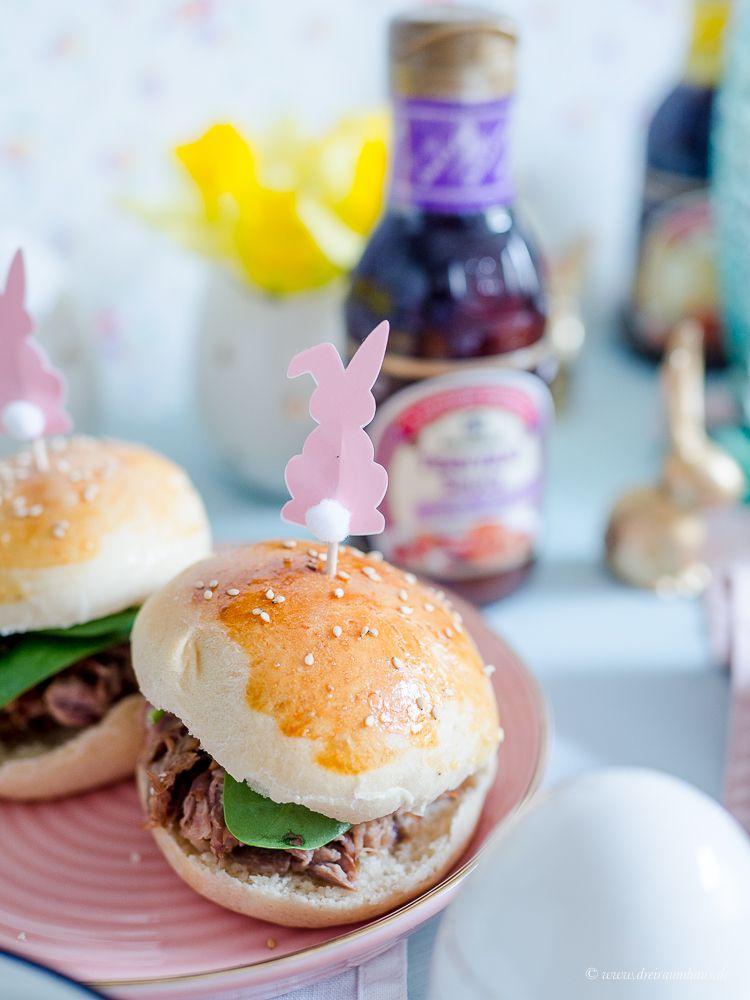Asia Pulled Pork Burger aus konfiertem Schweinenacken mit Teriyaki Sauce von Kikkoman!