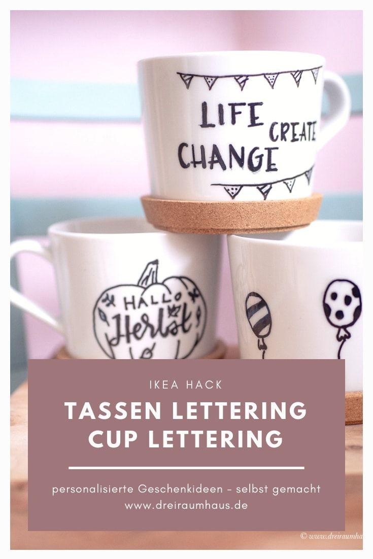 Lettering auf Tassen, Hand Lettering, Dekosamstag, Living, Tassen bemalen, Tassen selbst bemalen, DIY