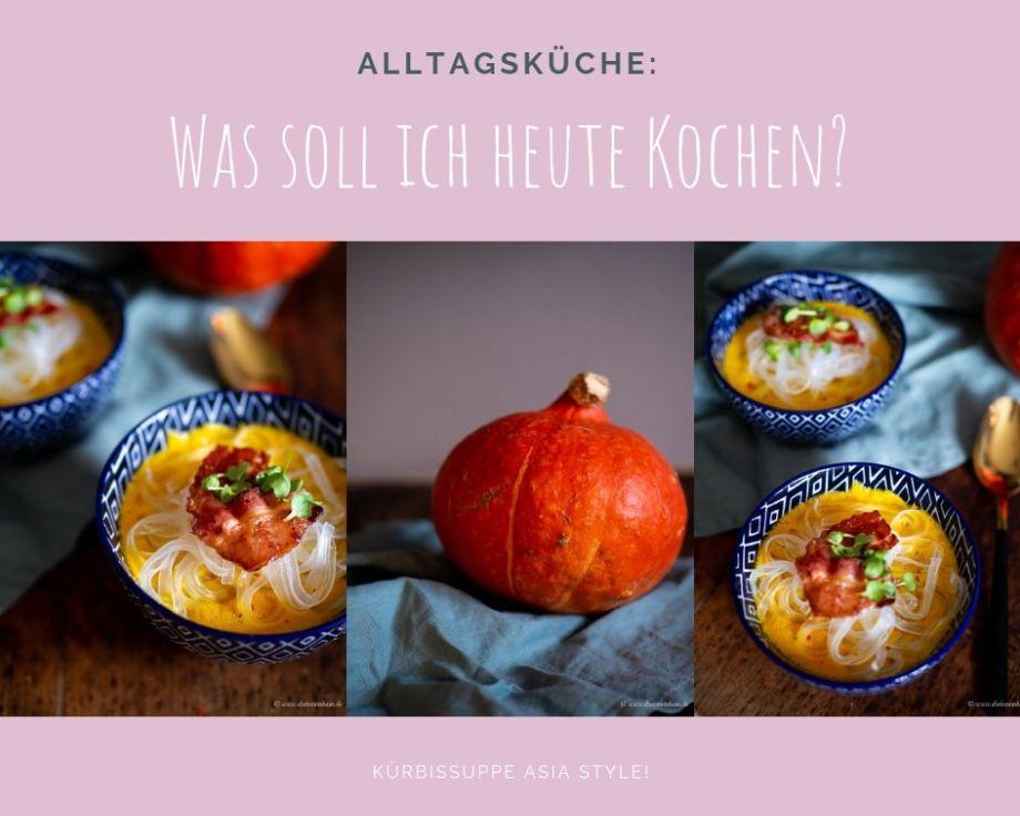 Küchengeflüster für den Alltag: Kürbissuppe Asia Style mit Kokosmilch, Ingwer und Glasnudeln!