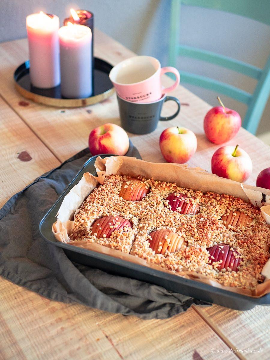 Saftiger Apfelkuchen mit Dinkelmehl, Skyr und Nüssen!