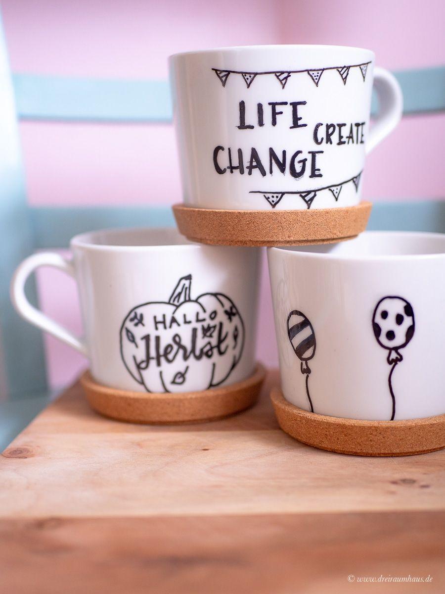 Dekosamstag: DIY IKEA Hack - Lettering auf Tassen oder wie Du Deine Tasse selbst bemalst! Hand Lettering auf Tassen im dreiraumhaus. Personalisierte Geschenkideen.