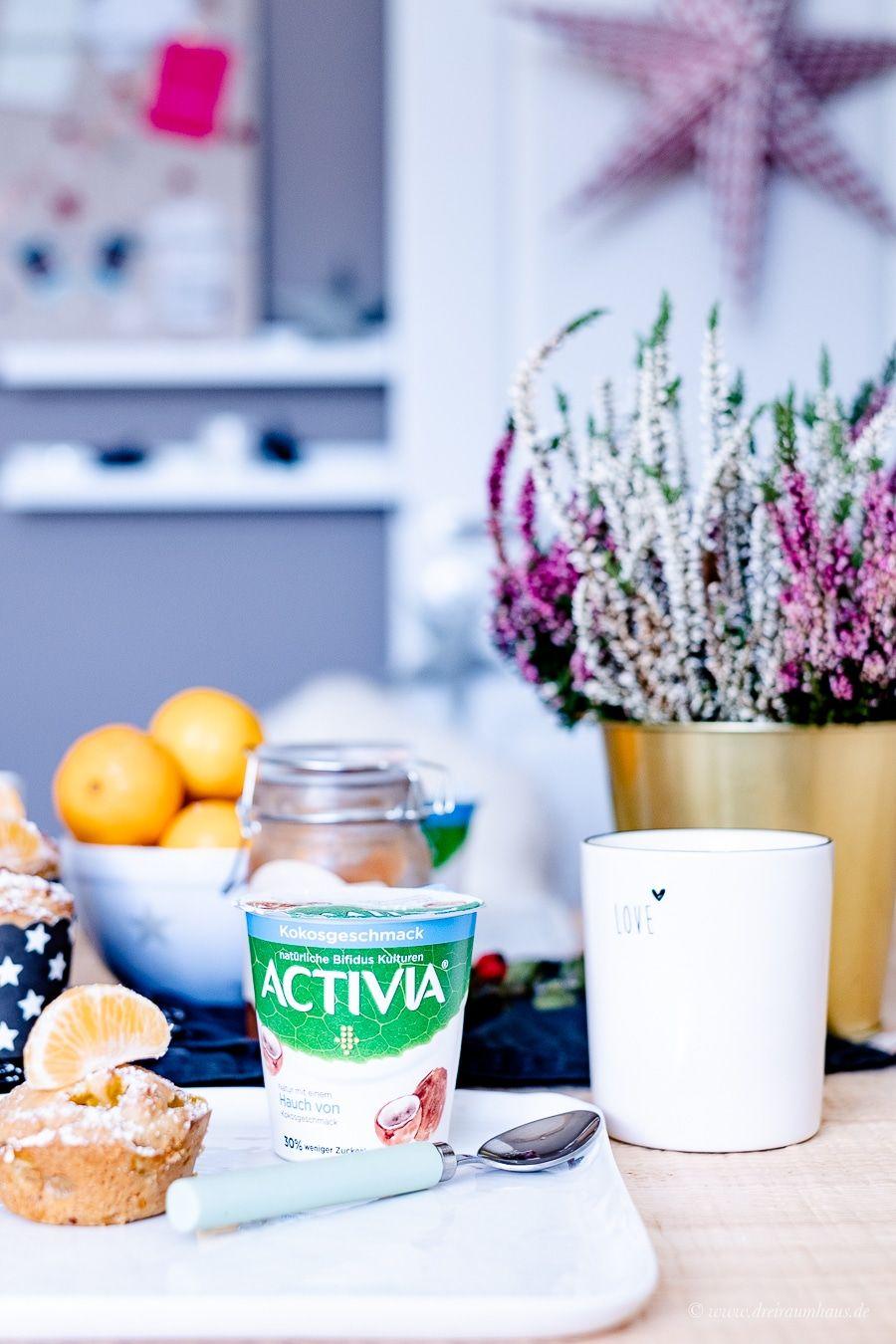Mandarinen Frühstücksmuffins und ACTIVIA ein Hauch von Kokos. Warum Wohlfühlmomente Glücksmomente sind? Ein kleiner Leitfaden für einen ausgewogenen Alltag!