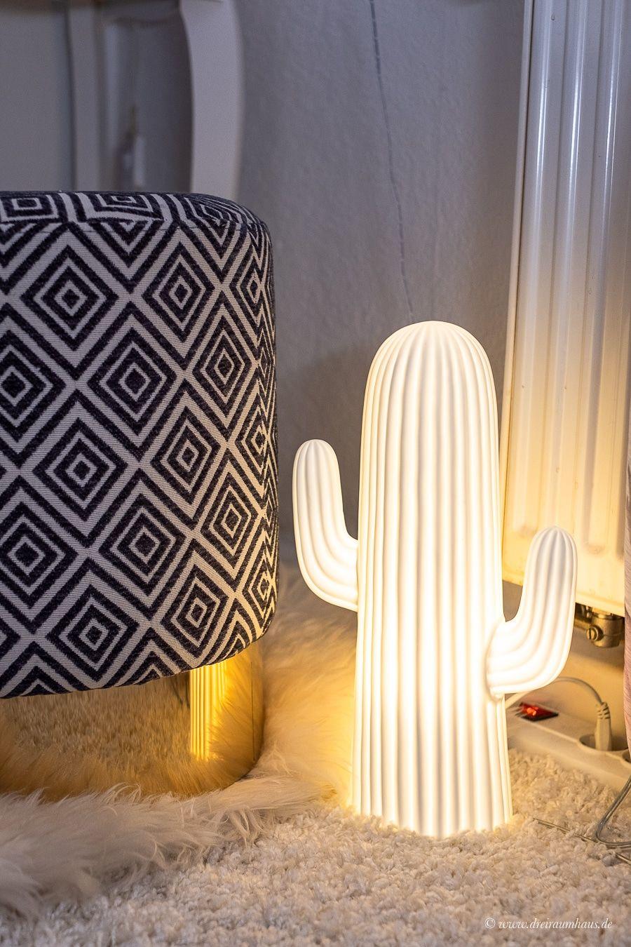 Dekosamstag: Neuanfänge! Ein Samthocker und eine Kaktusleuchte für ein Mädchenzimmer!