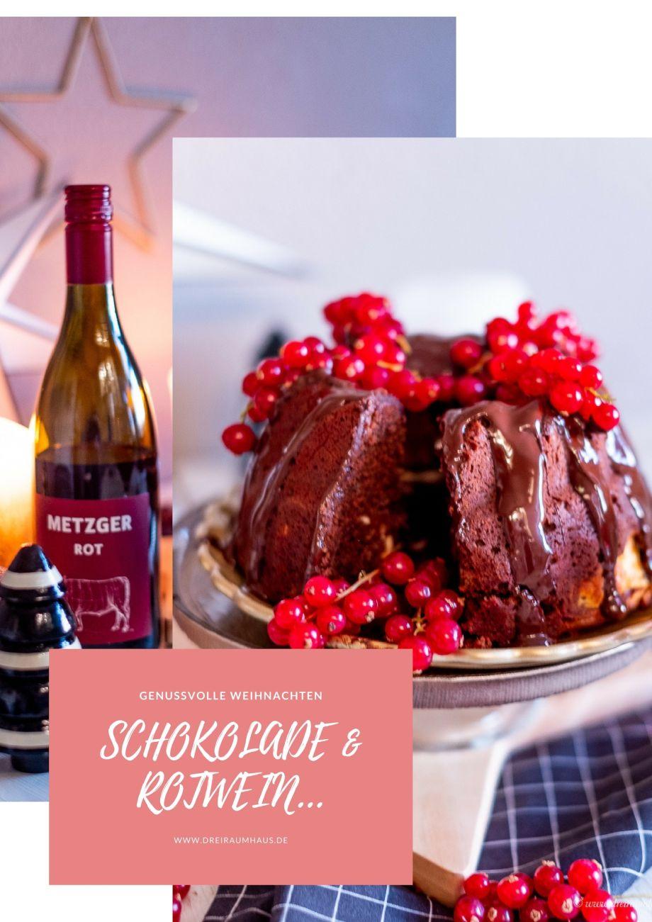 Ein Schokogugelhupf mit Cheesecakefüllung, ein Glas Rotwein und silwy Magnetgläser!