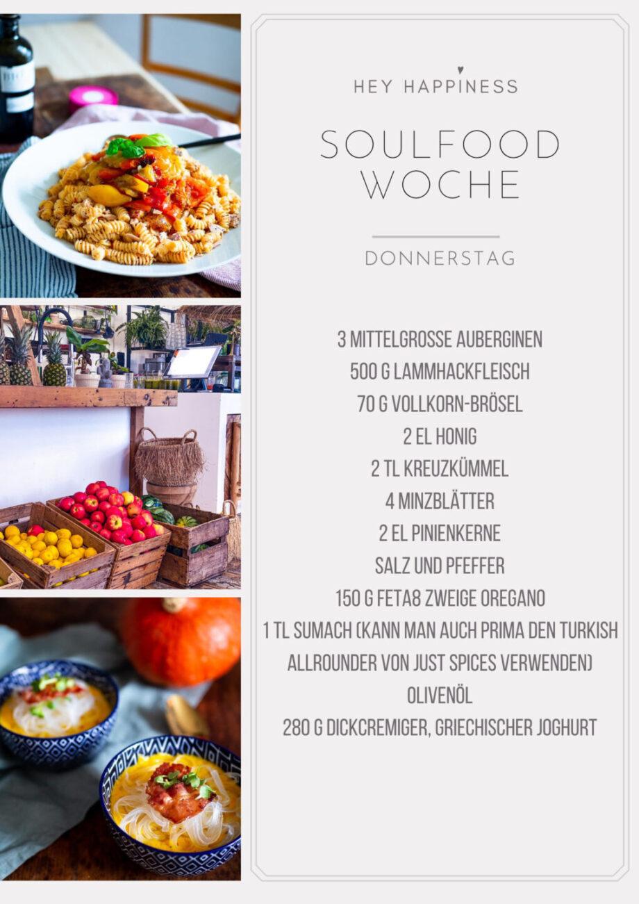 HEY HAPPINESS SOULFOOD WOCHE #1 - Einkaufsliste - Donnerstag