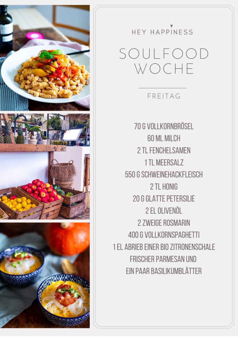 HEY HAPPINESS SOULFOOD WOCHE #1 - Einkaufsliste - Freitag